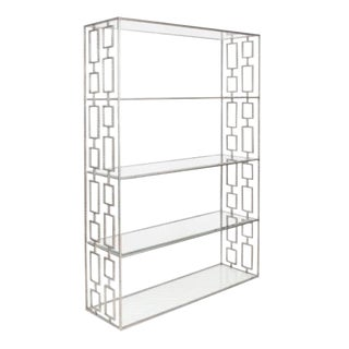 Worlds Away Modern Silver Metal Ribbed Geometric Etagere For Sale