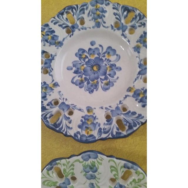 Blue Vintage Jay Willfred Portugal Hand Painted Porcelain Plates - Set of 4 For Sale - Image 8 of 10