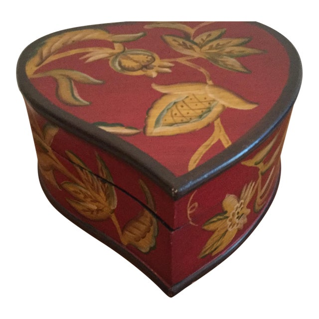 Hand Painted Decorative Wooden Heart Shaped Box For Sale