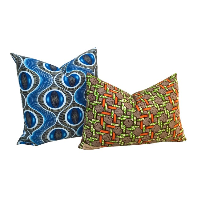 African Pillow Covers, Found Object - Pair - Image 1 of 8