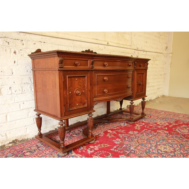 Vintage Carved Mahogany Sideboard Buffet - Image 4 of 8