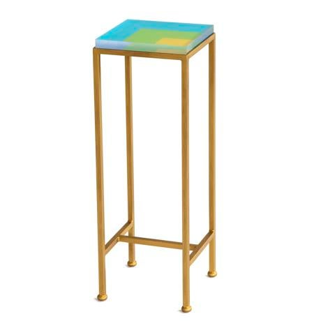 Wendy Concannon Contemporary Ellsworth Acrylic Drinks Table – Base: Gold, Top: Nesting Squares Blue/Lime/Yellow For Sale - Image 4 of 4