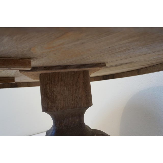 "40"" Round Wood Pedestal Base Farmhouse Coffee Table With Drawer For Sale - Image 9 of 10"