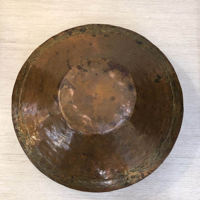 Antique Hammered Copper Plated Vessel For Sale - Image 4 of 5