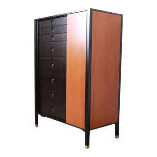Harvey Probber Mid-Century Modern Gentleman's Chest in Teak, Mahogany, and Brass For Sale
