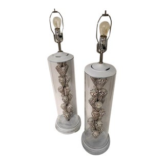 Cone Shaped Black and White Cylindrical Table Lamps- A Pair For Sale