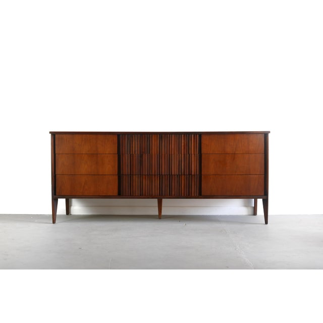 Exceptional Contoured Dresser / Credenza by Edmond Spence, Sweden This is a walnut storage cabinet used as a dresser,...