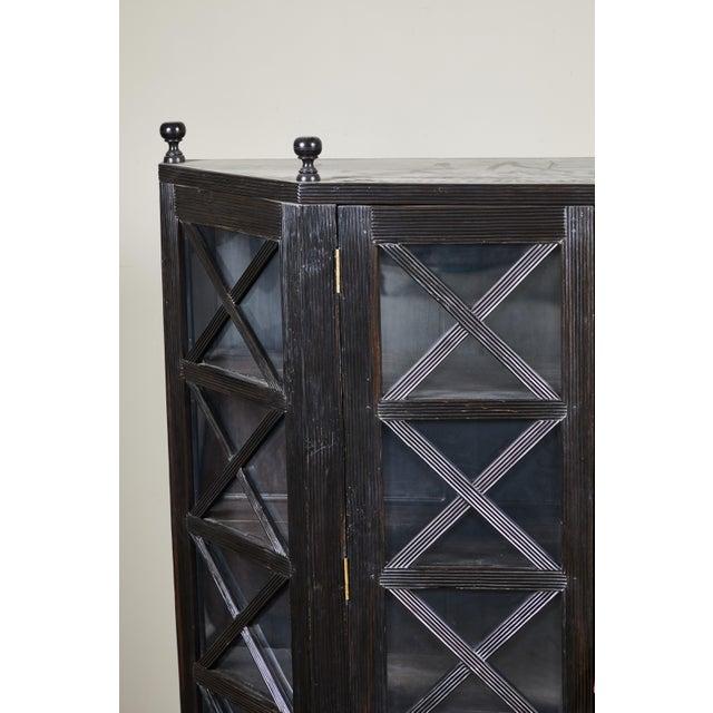 20th C. Ebony British Colonial 2-Door Display Cabinet For Sale In Los Angeles - Image 6 of 11
