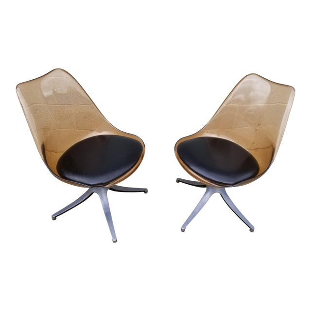 Mid Century Chromcraft Brown Lucite Side Chairs- a Pair For Sale
