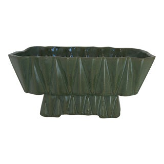 Vintage Green Geometric Ceramic Planter For Sale