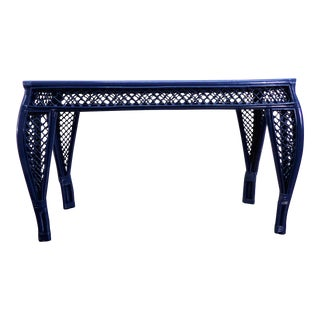 Vintage Navy Lacquer Finish Bamboo Rattan Glass Topped Console Table For Sale