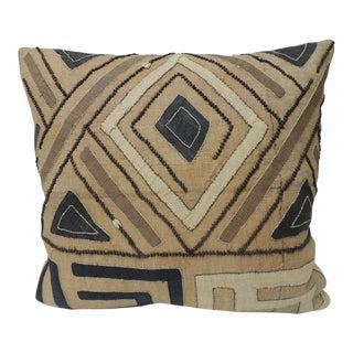 Vintage Tan & Black Raffia Appliqué Tribal Decorative Textured Finish Pillow For Sale