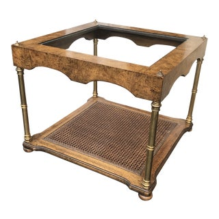 Vintage Brass and Wood End Table Hollywood Regency For Sale