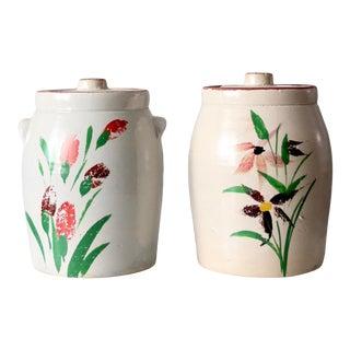 Antique Stoneware Cookie Jars Pair For Sale