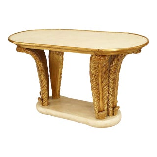 Italian Parchment and Gilt Feather Coffee Table For Sale