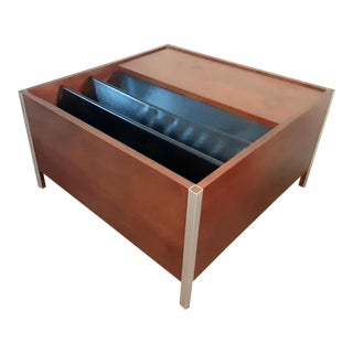 Mid Century Modern Rosewood and Chrome Magazine Side Table For Sale