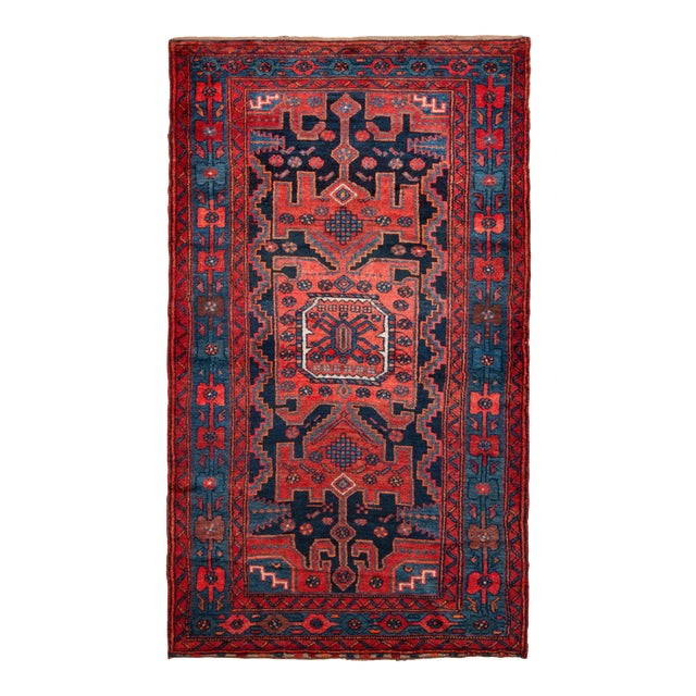 Hand-Knotted Antique Mosul Rug in Red Blue Tribal Medallion Pattern For Sale