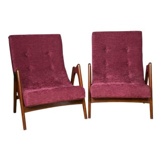 Upholstered Mid-Century Armchairs - A Pair