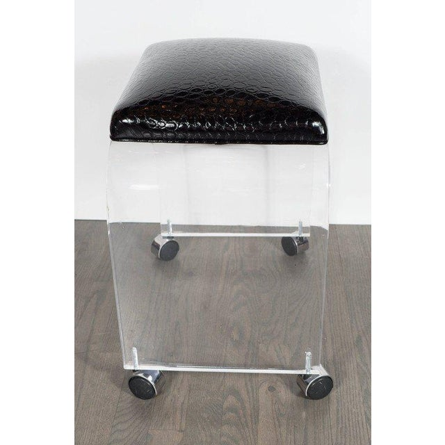 Mid-Century Modernist Waterfall Lucite Stool or Bench with Black Faux Crocodile For Sale - Image 4 of 6