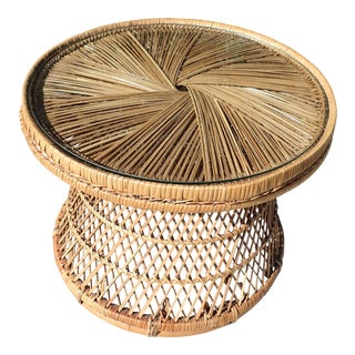 Mid-Century Woven Rattan Wicker Table With Glass Top