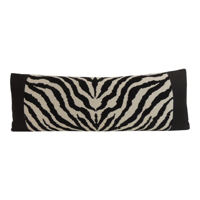 Vintage Black and White Zebra Pattern Decorative Bolster Pillow For Sale