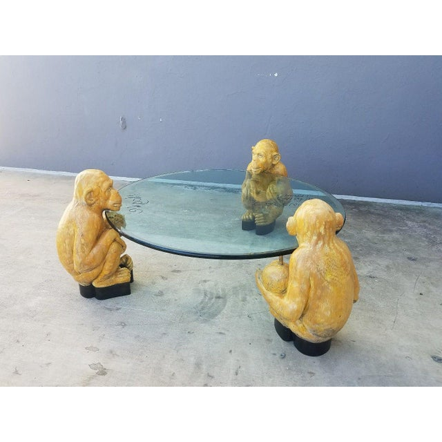 Modern 1970s Vintage Italian Monkey Glass Coffee Table For Sale - Image 3 of 11