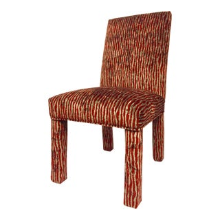 1980s Vintage Maximalist Red and Grey Velvet Animal Print Parsons Chair For Sale