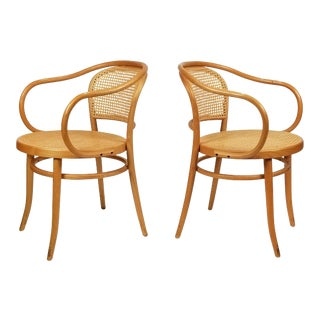 Michael Thonet Solid Beechwood and Cane No. 209 Armchairs - a Pair For Sale