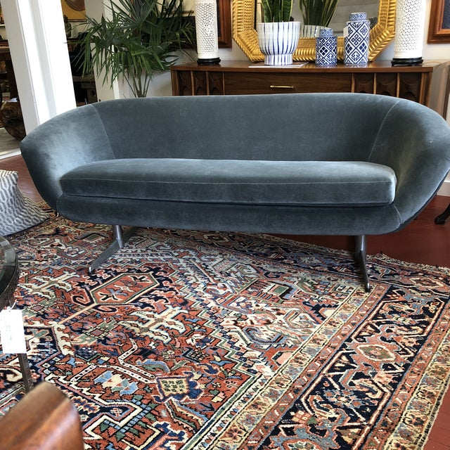 Beautiful grey velvet 1960's settee Newly upholstered by Burris Industries