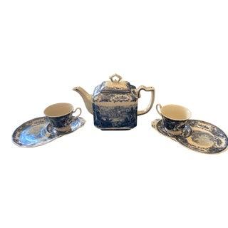 Antiche Riproduzioni 19th Century Repo Porcelain Italian Tea Set - 6 Piece Set For Sale