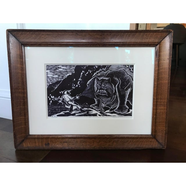 Vintage Abstract Sci Fi Comic Block Print Lithograph For Sale - Image 4 of 8