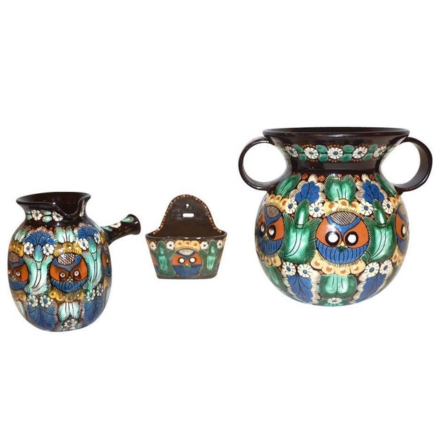 Antique Swiss Arts & Crafts Thoune Majolica Vase, Jug and Holder - 3 Pc. Set For Sale - Image 10 of 10