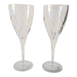 French Cut Crystal Etched Wine Glasses S/2