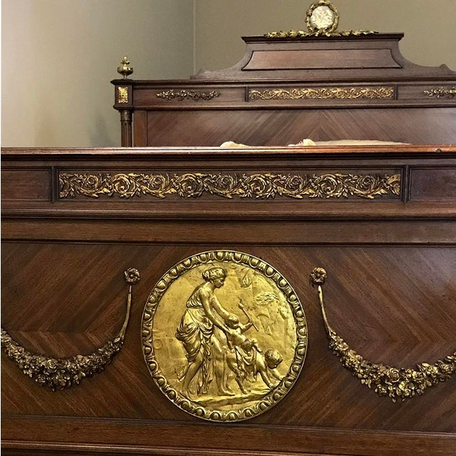 Late 19th Century 19th Century French Louis XVI Queen Bed With Ormolu For Sale - Image 5 of 13
