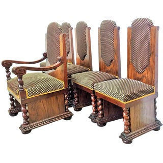 Art Deco Armchair & Side Chairs - Set of 5 For Sale
