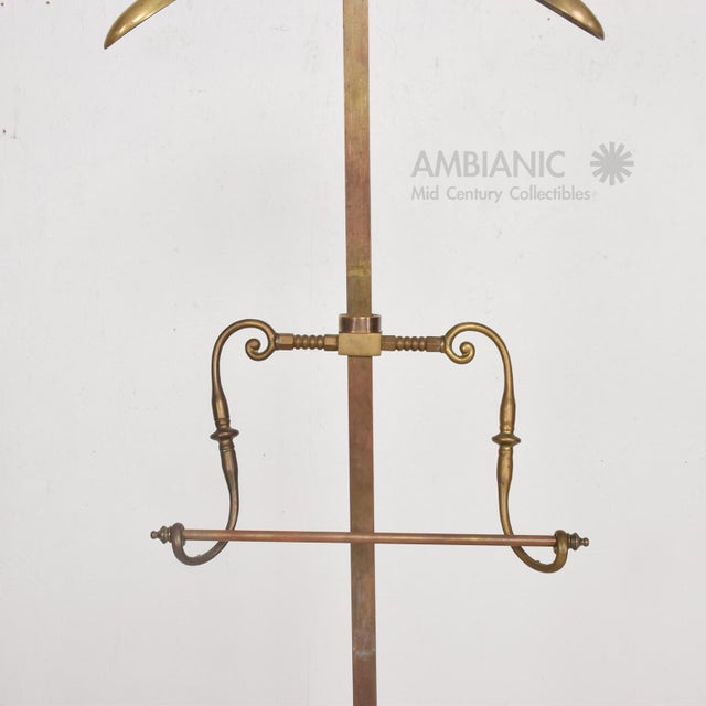 Brass Gentleman's Valet Hollywood Regency Era Coat Rack For Sale - Image 9 of 11