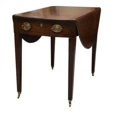 19th Century English Mahogany Oval Pembroke Table For Sale