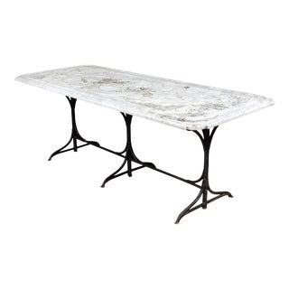 19th Century Castel Franco Hand Chiseled Marble Table with Iron Base For Sale