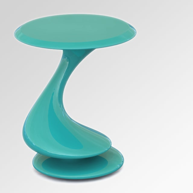 Resin Accent Table No. 5 by Chris Delmar in Aquamarine For Sale - Image 7 of 7