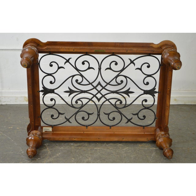 Ethan Allen French Country Style Glass & Scrolled Iron Top Coffee Table - Image 8 of 10