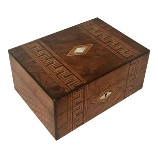 Antique French Marquetry Inlay Jewelry Box For Sale