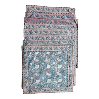 Vintage Pink and Blue Paisley Cotton Napkins - Set of 8 For Sale