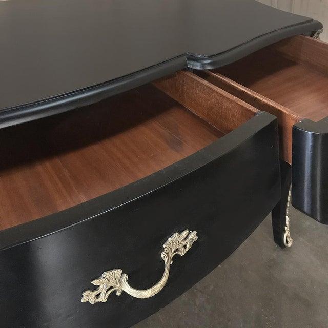Antique French Louis XV Black Painted Desk ~ Bureau Plat With Bronze Mounts For Sale - Image 10 of 12