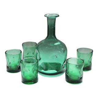 Mid-Century Empoli Verde Sea Green Dimpled Decanter and Tumbler Glasses, Made in Italy - 6 Piece Set For Sale