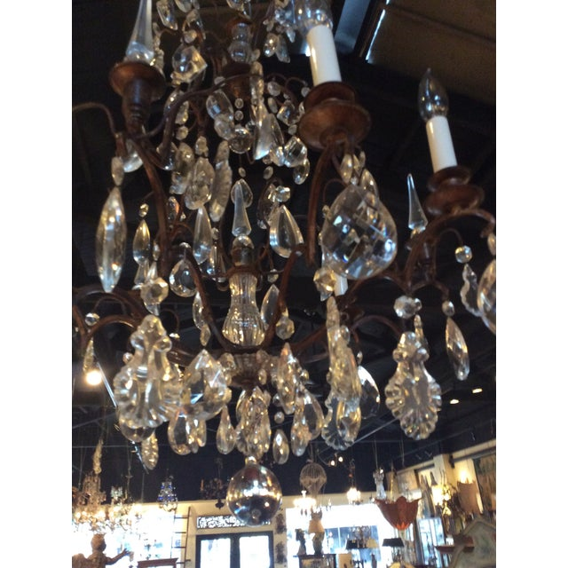 Antique French Crystal Chandelier For Sale - Image 4 of 4