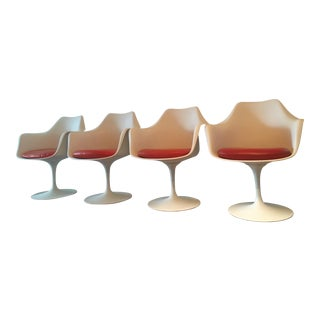 1950s Vintage Eero Saarinen for Knoll Tulip Dining Arm Chairs- Set of 4 For Sale