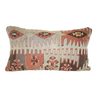 Vintage Lumbar Kilim Pillow Cover, Ethnic Turkish Pillow 12'' X 20'' (30 X 50 Cm) For Sale