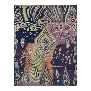 Contemporary Abstract Style Rug with Modern Psychedelic Design For Sale