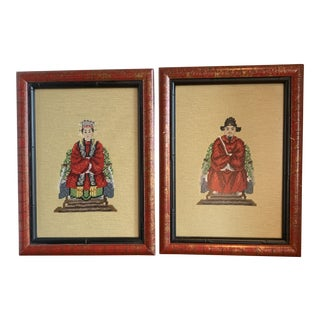 Mid-Century Chinoiserie Emperor and Empress Artwork - a Pair For Sale