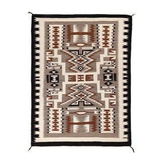"""Dramatic Vintage Navajo Storm Pattern Rug, 4'3"""" X 5'7"""" For Sale"""